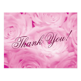 Thank you wedding postcards with pink rose flowers