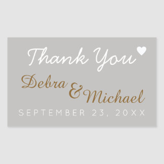thank you, wedding rectangular sticker