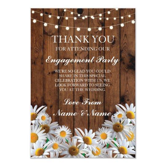 Thank You Wedding Rustic Wood Daisy Lights Card