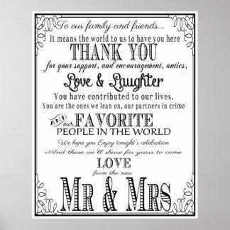 Thank you wedding sign Black & White
