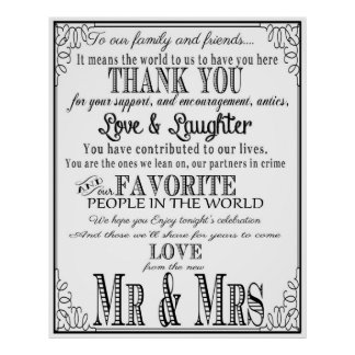 Thank you wedding sign Black & White Poster