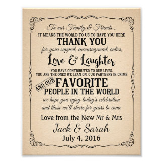 Thank you wedding sign customised photo print