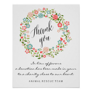 Thank you wedding sign | Floral | bothanical Poster