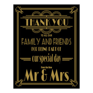 Thank you wedding sign Gold and Black Poster