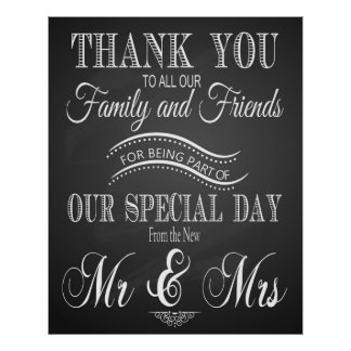 Thank you wedding sign in chalkboard - blackboard