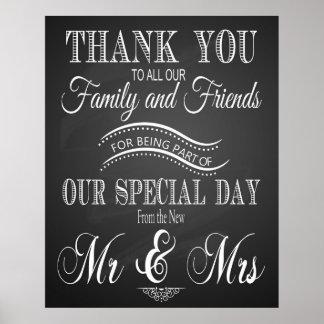 Thank you wedding sign in chalkboard - blackboard poster