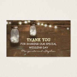thank you wedding tag with string lights mason jar business card