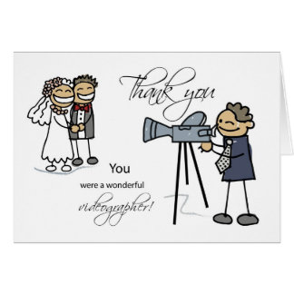 Thank You Wedding Videographer, Stick Figures Greeting Card