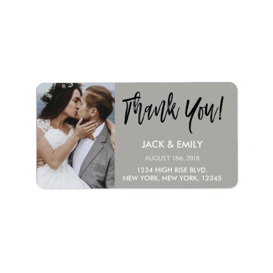 Thank You Wedding White & Black Script Photo Address Label
