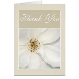 """""""Thank you"""" white beige flower floral rose Greeting Card"""