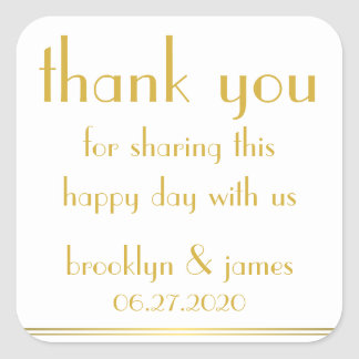 Thank You White Great Gatsby Wedding Stickers