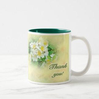 Thank You White Multiflora Roses Wildflower Two-Tone Mug