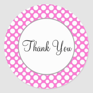 Thank You White Polka Dots on Pink Sticker