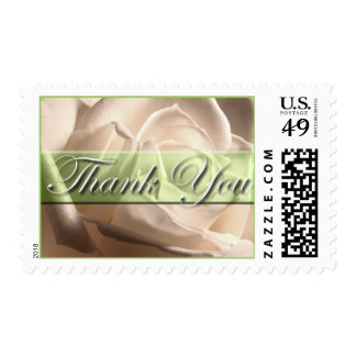 Thank You White Rose Wedding Postage Stamp