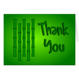 Thank You With Bamboo Design--Green Shading Greeting Card