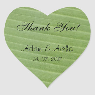 Thank you (with Banana leaf as background) Heart Sticker