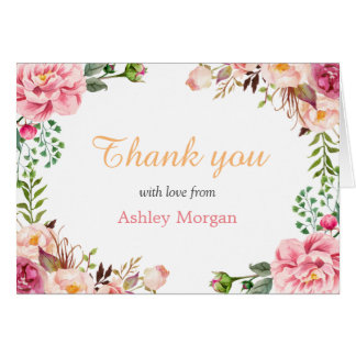 Thank You with Love Romantic Chic Floral Wrap Card