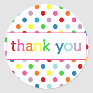 Thank You with Polka Dots ~ Paint/Art Party Round Sticker