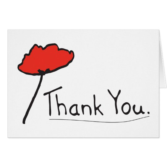 Thank You with Red Poppy Flower Card
