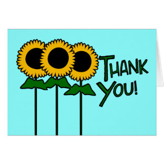 Thank You With Three Outlined Sunflowers Note Card