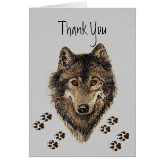Thank You Wolves Wolf Tracks Animal Greeting Cards