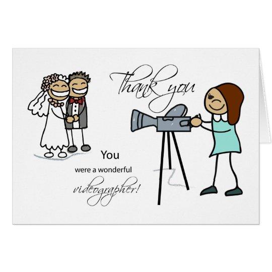 Thank You Woman Videographer, Wedding Card
