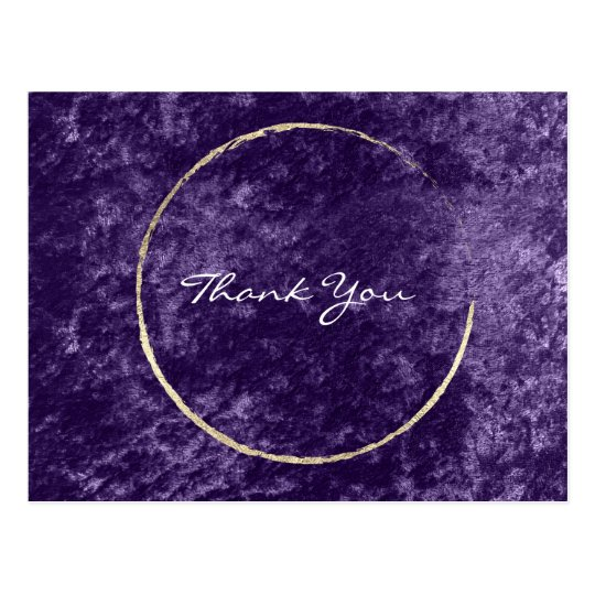 Thank You Wreath Violet Gold Velvet Purple Grape Postcard