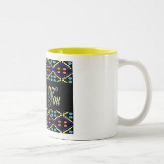 Thank You yellow black Two-Tone Mug