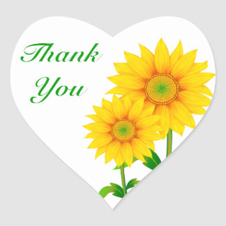 Thank You Yellow Sunflower Greeting Sticker Label