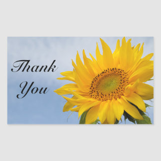 Thank You Yellow Sunflower Greeting  Stickers