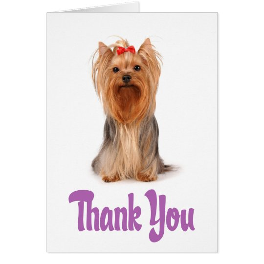 Thank You Yorkshire Terrier Puppy Card - Verse