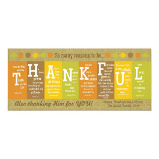 THANKFUL 2-Sided Scripture Thanksgiving Card Personalized Invitation