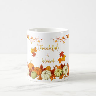 Thankful and Blessed Golden Script Thanksgiving Coffee Mug