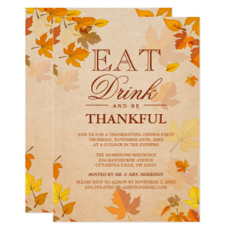 Thankful Autumn Leaves Thanksgiving Dinner Party 13 Cm X 18 Cm Invitation Card