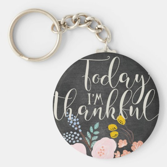 Thankful Basic Button Keychain