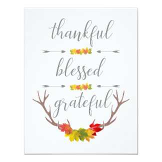 Thankful Blessed Grateful Fall Antler Thanksgiving Card