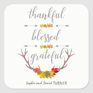 Thankful Blessed Grateful Fall Antler Thanksgiving Square Sticker