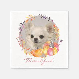 Thankful Chihuahua Thanksgiving Paper Napkins