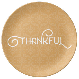 Thankful • Cute autumn damask plate