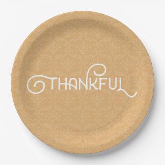 Thankful • Cute autumn damask plates