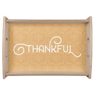 Thankful • Cute chic damask wood tray