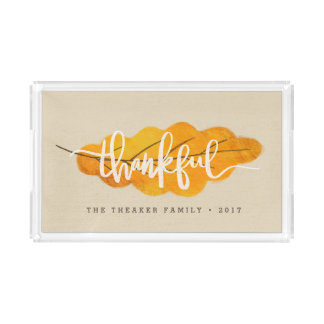 THANKFUL FALL LEAF ACRYLIC TRAY