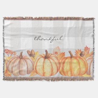 Thankful fall pumpkin decor, editable wording throw blanket