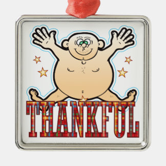 Thankful Fat Man Silver-Colored Square Decoration