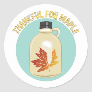 Thankful For Maple Round Sticker