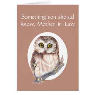 Thankful for You Mother-in-Law Mother's Day Owl Greeting Card