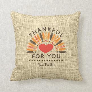 THANKFUL FOR YOU, Rustic Burlap Cushion