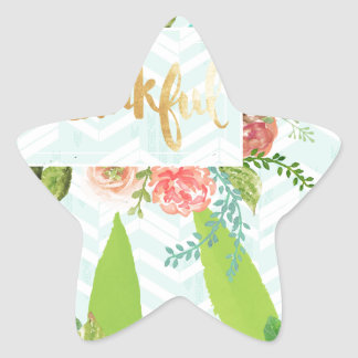 thankful,gold,typography,modern,girly,cute,floral, star sticker