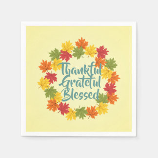 Thankful Grateful Blessed Thanksgiving Napkins Disposable Serviettes