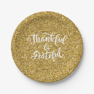 Thankful & Grateful Faux Gold Glitter Thanksgiving Paper Plate